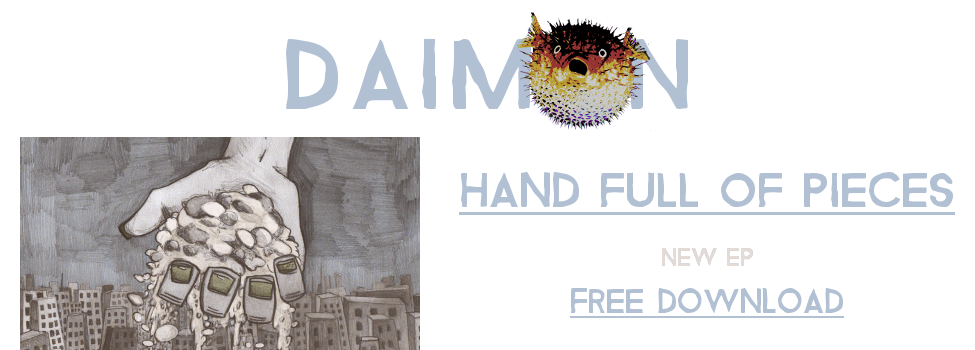 Header of the Daimon website with the band logo